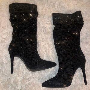 Jessica Simpson Black Rhinestone Layzer Boots
